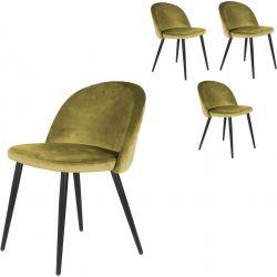Chaise de salle à manger vintage en velours (lot de 4) Joanie