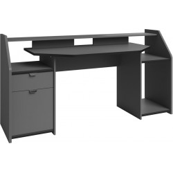 Bureau gamer moderne gris ombre/noir Spacy