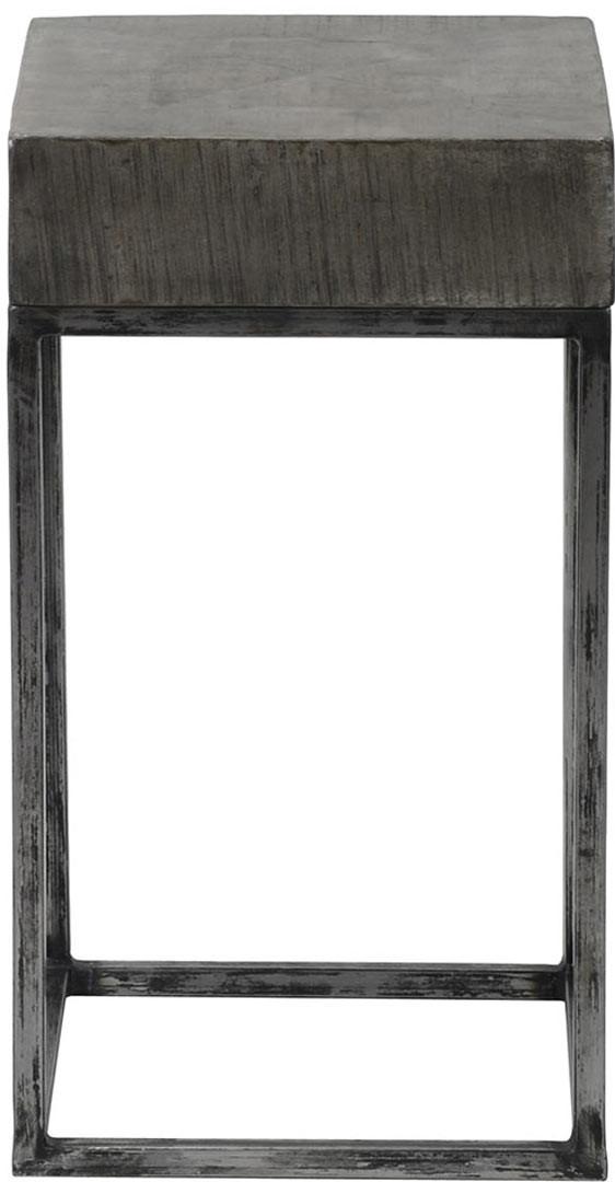 Table d'appoint industrielle en bois massif coloris gris antique Vittelo