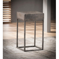 Table d'appoint industrielle en bois massif coloris gris antique Vittelo