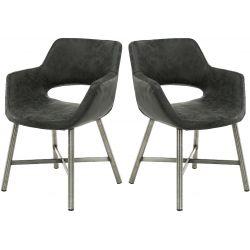 Ensemble vintage de 2 chaises en PU noir Novak