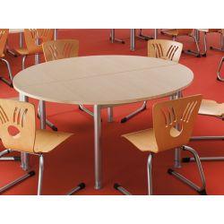 Table d'extension demi-ronde métal argenté et bois chêne moyen Dallas