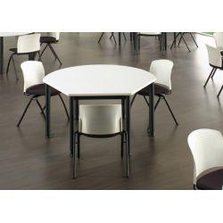 Table d'extension trapézoïdal réglable en hauteur métal argenté et bois chêne moyen Dallas