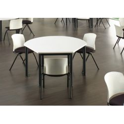 Table d'extension trapézoïdal métal argenté et bois chêne moyen Dallas I