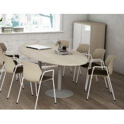 Table de réunion ovale 250 cm acacia clair Erika