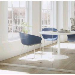 Chaise d'accueil design métal chromé et PVC bleu (lot de 4) Ostende