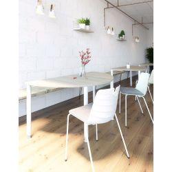 Table d'extension demi-ronde réglable en hauteur métal argenté et bois chêne moyen Dallas I