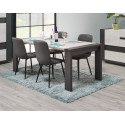 Table de salle à manger moderne chêne clair/graphite Mikie
