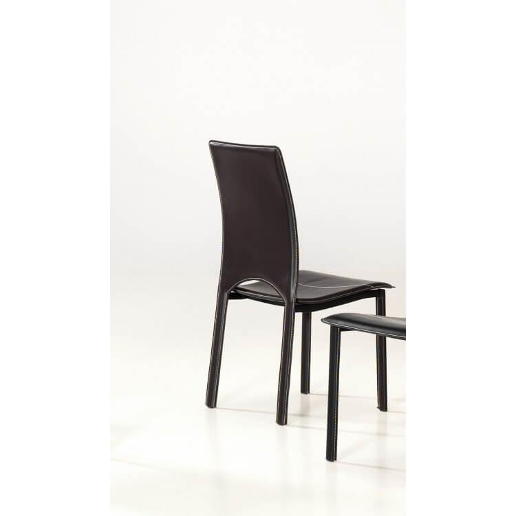 Lot de 4 chaises de salle à manger CHEYENNE coloris brun