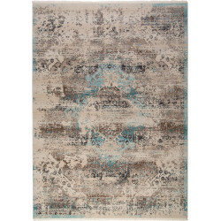 Tapis bleu océan vintage avec franges rectangle Bay
