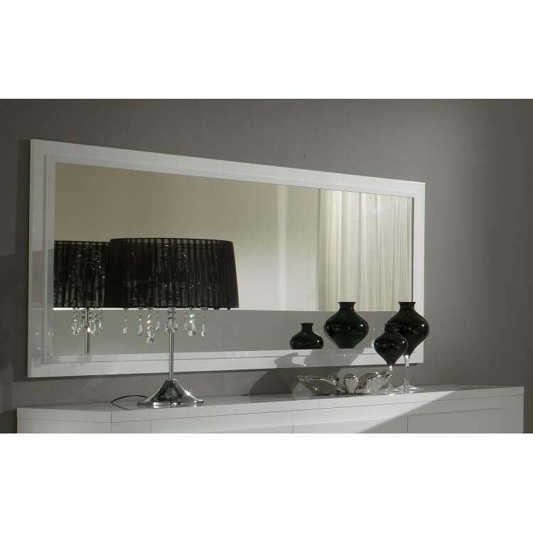 Miroir rectangulaire de salle à manger laqué blanc Diva