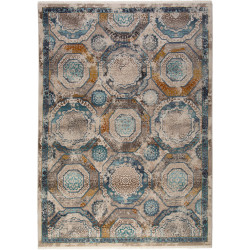 Tapis rayé avec franges vintage bleu océan Cahon