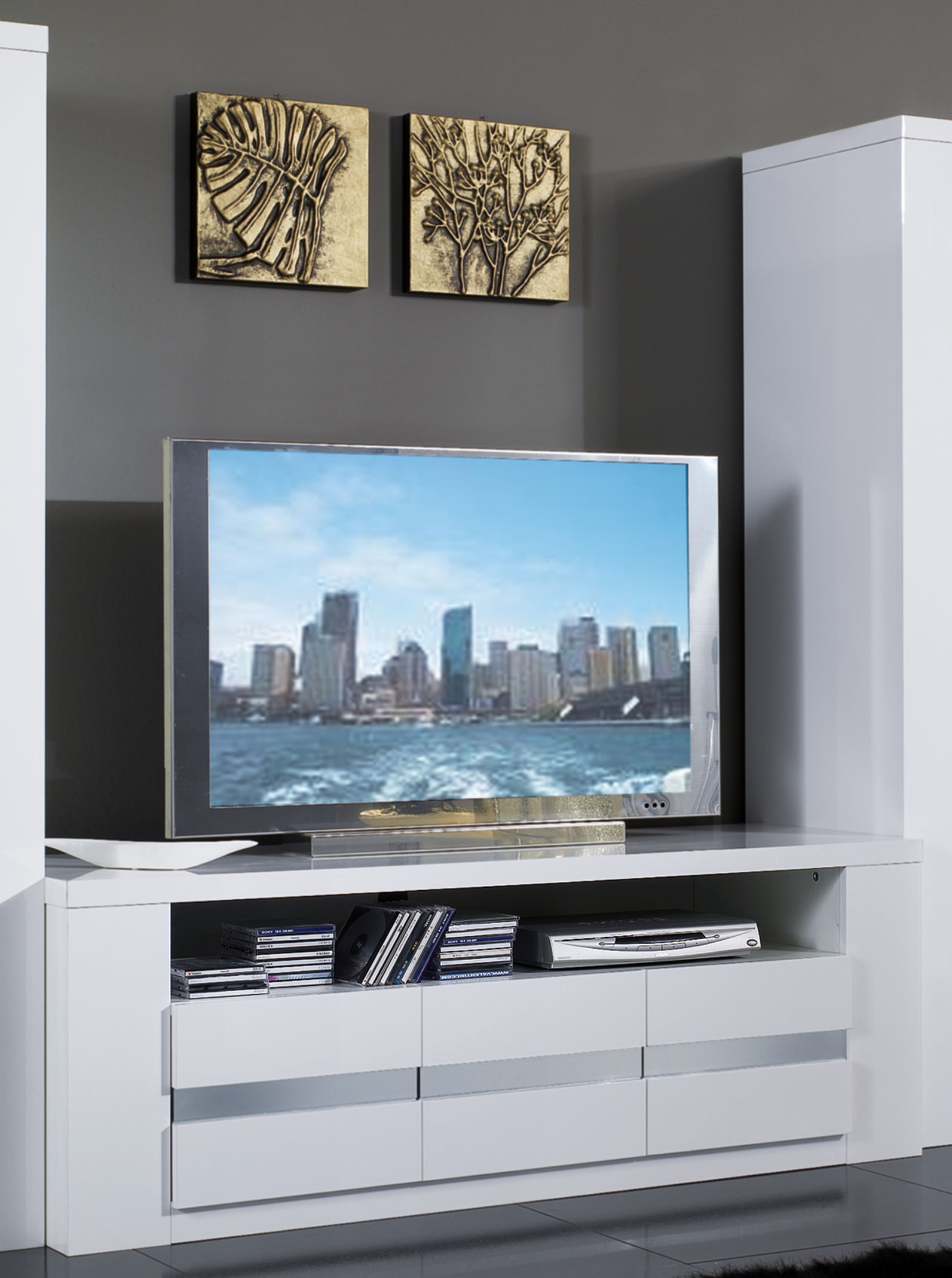 Meuble TV design laqué blanc Diva