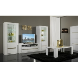 Meuble TV et 2 vitrines design laqué blanc Diva