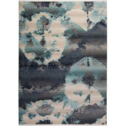 Tapis bleu océan design avec franges Elena