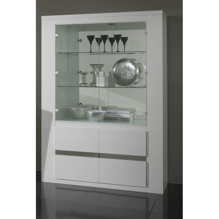 Vaisselier/argentier portes vitrées design laqué blanc Diva II