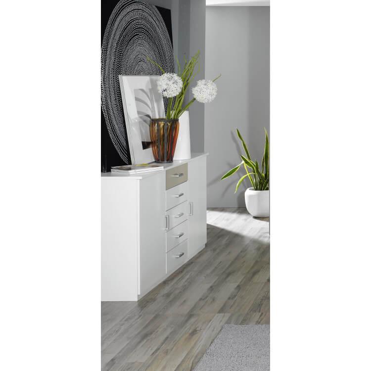 Commode adulte design 2 portes/5 tiroirs coloris blanc/beige Plaza