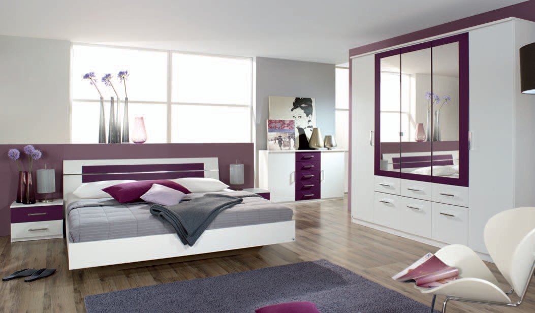 Chambre adulte contemporaine coloris blanc/mûre Venise III