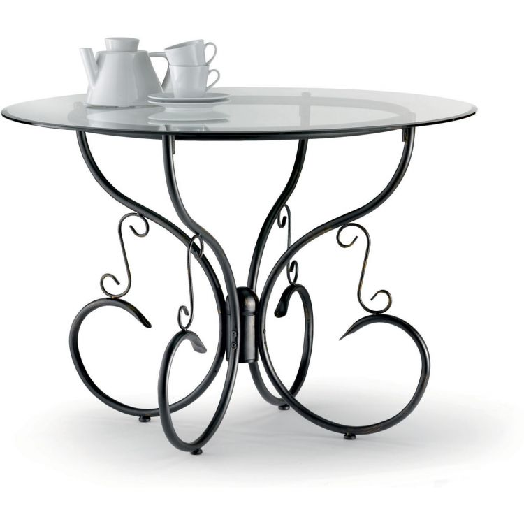 Table verre & fer forgé ronde de salle à manger ARABESQUE