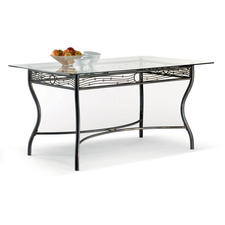 Table verre & fer forgé rectangulaire de salle à manger ARABESQUE