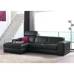 Canapé d'angle fixe cuir STAN
