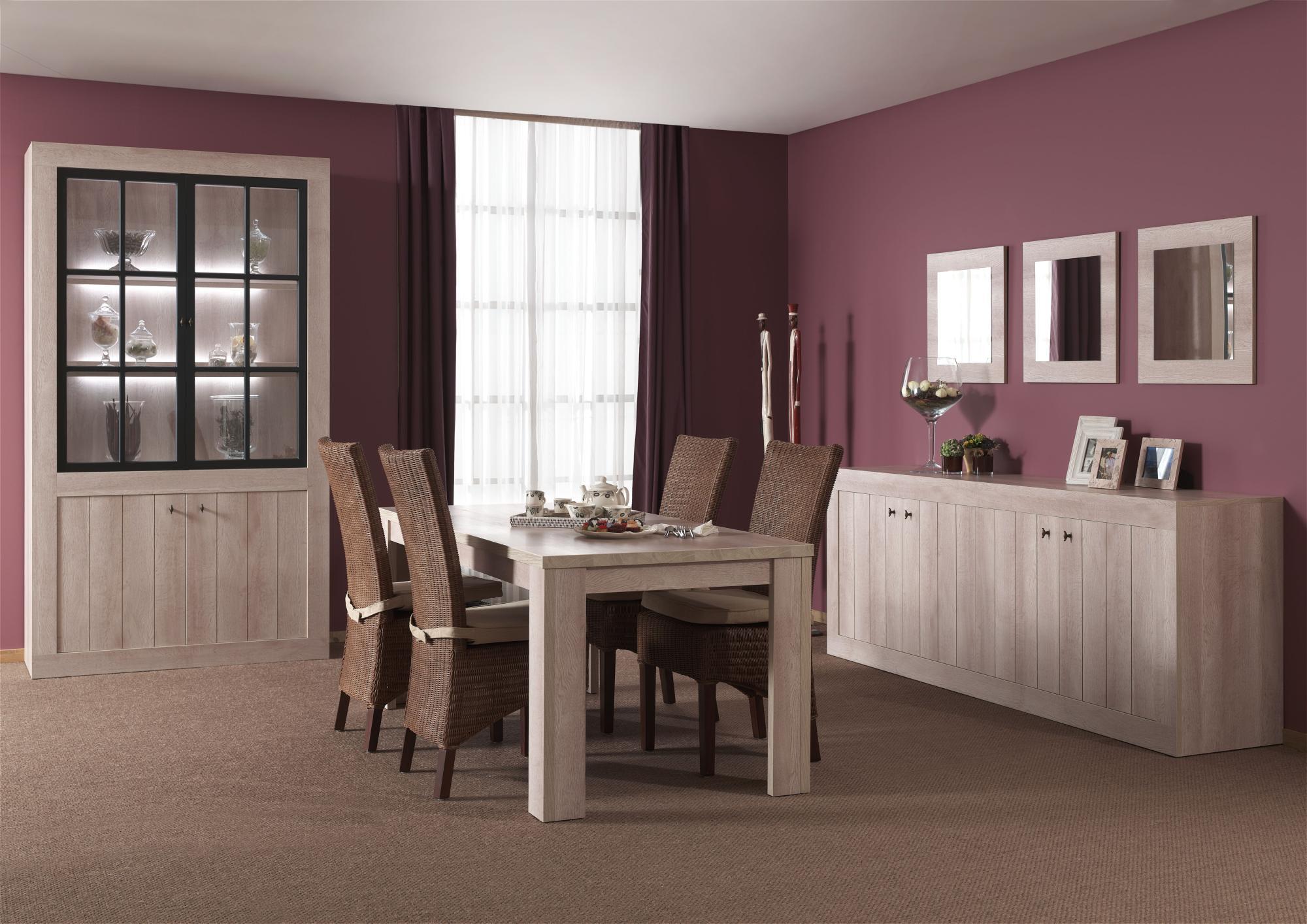Salle à manger complète contemporaine coloris river oak Emma