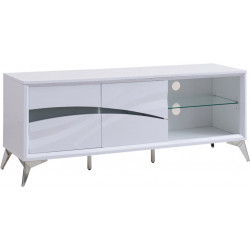 Meuble TV moderne blanc brillant Ornela