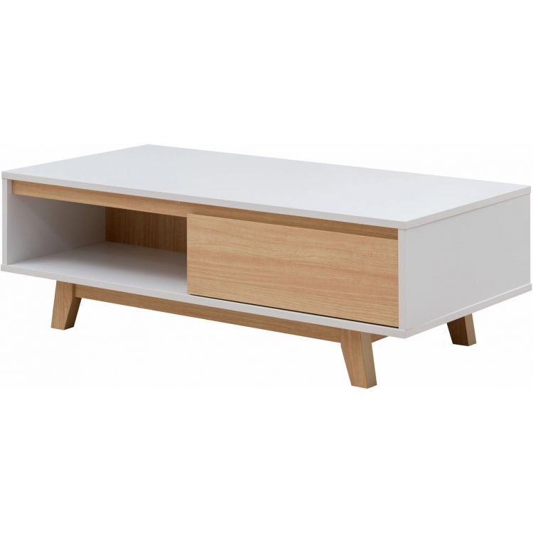 Table basse scandinave chêne clair/blanc Helga