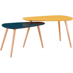 Tables basses scandinaves moutarde/bleu foncé Amanda