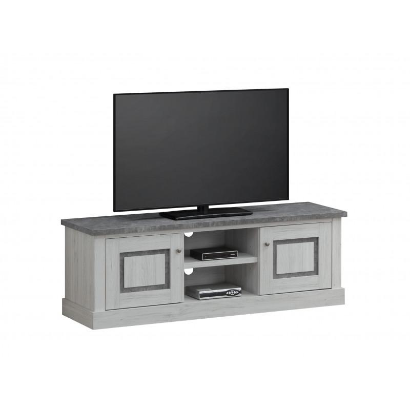 meuble tv contemporain ch ne clair gris b ton emmanuelle. Black Bedroom Furniture Sets. Home Design Ideas