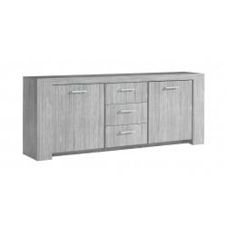 Buffet/bahut contemporain 2 portes/ tiroirs chêne gris Paola
