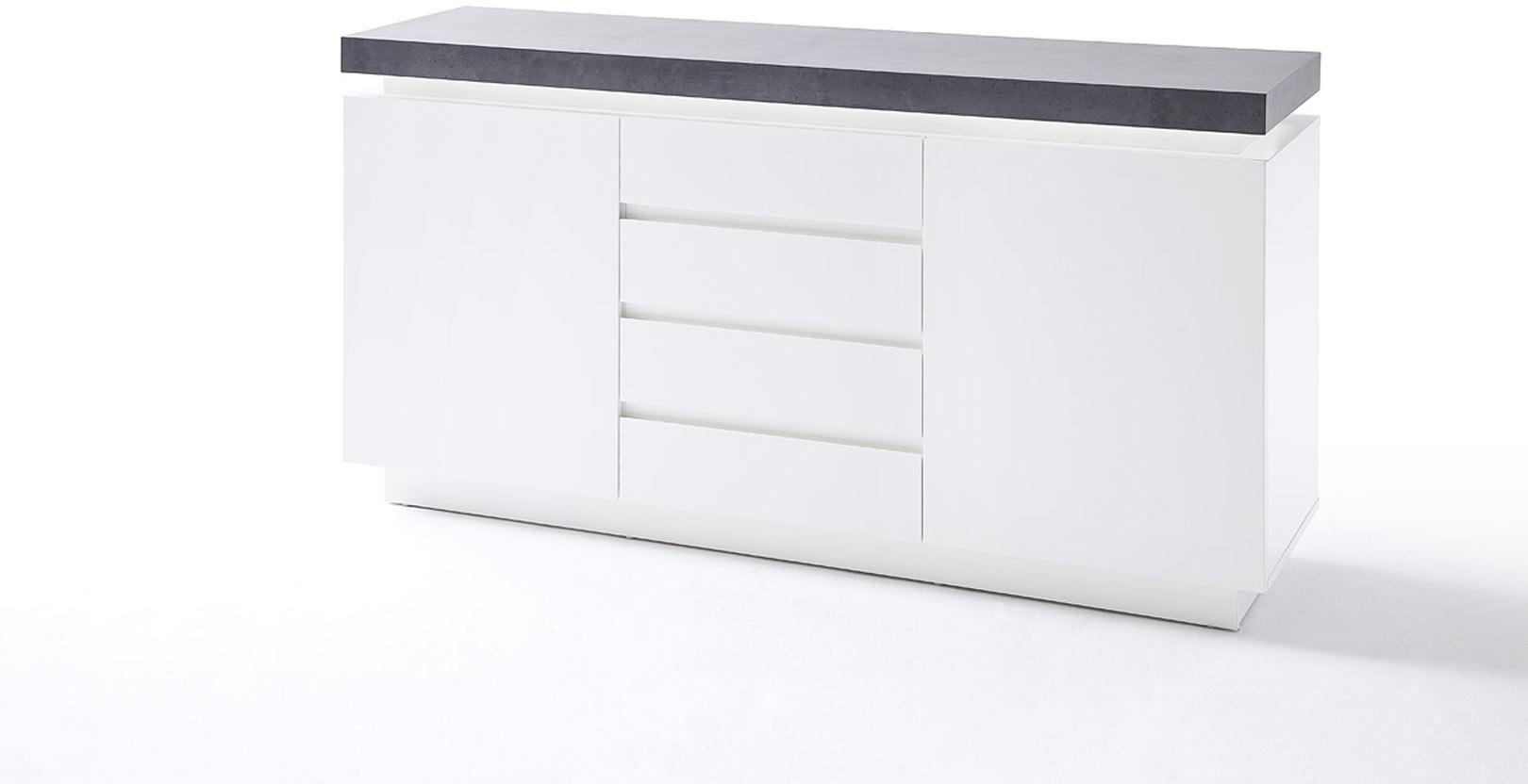 Buffet/bahut moderne blanc mat/béton 150 cm Romane