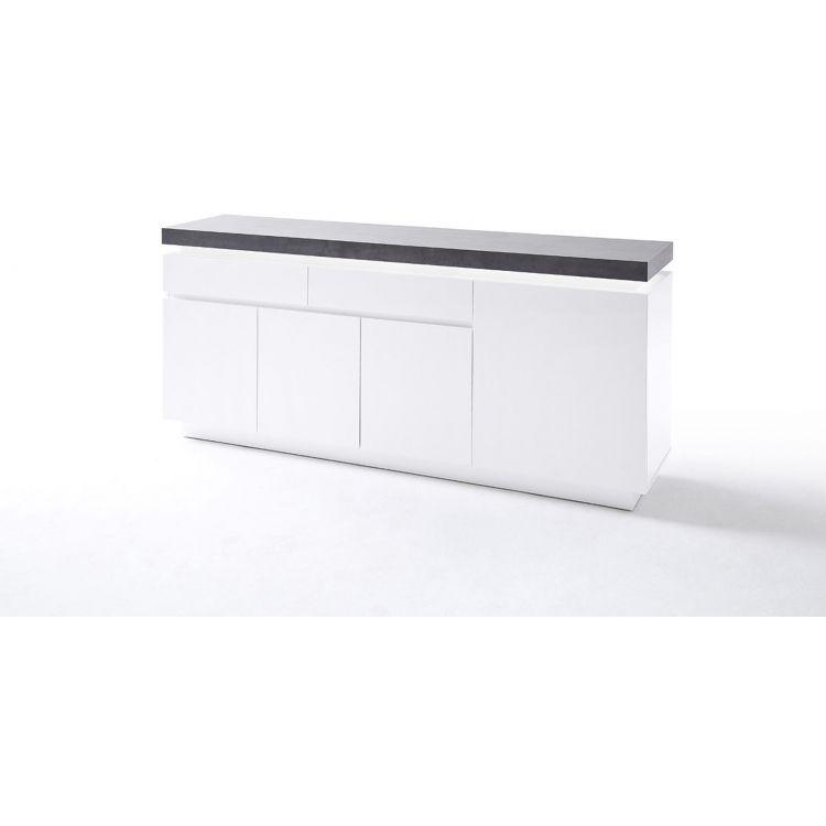 Buffet/bahut moderne blanc mat/béton 175 cm Romane
