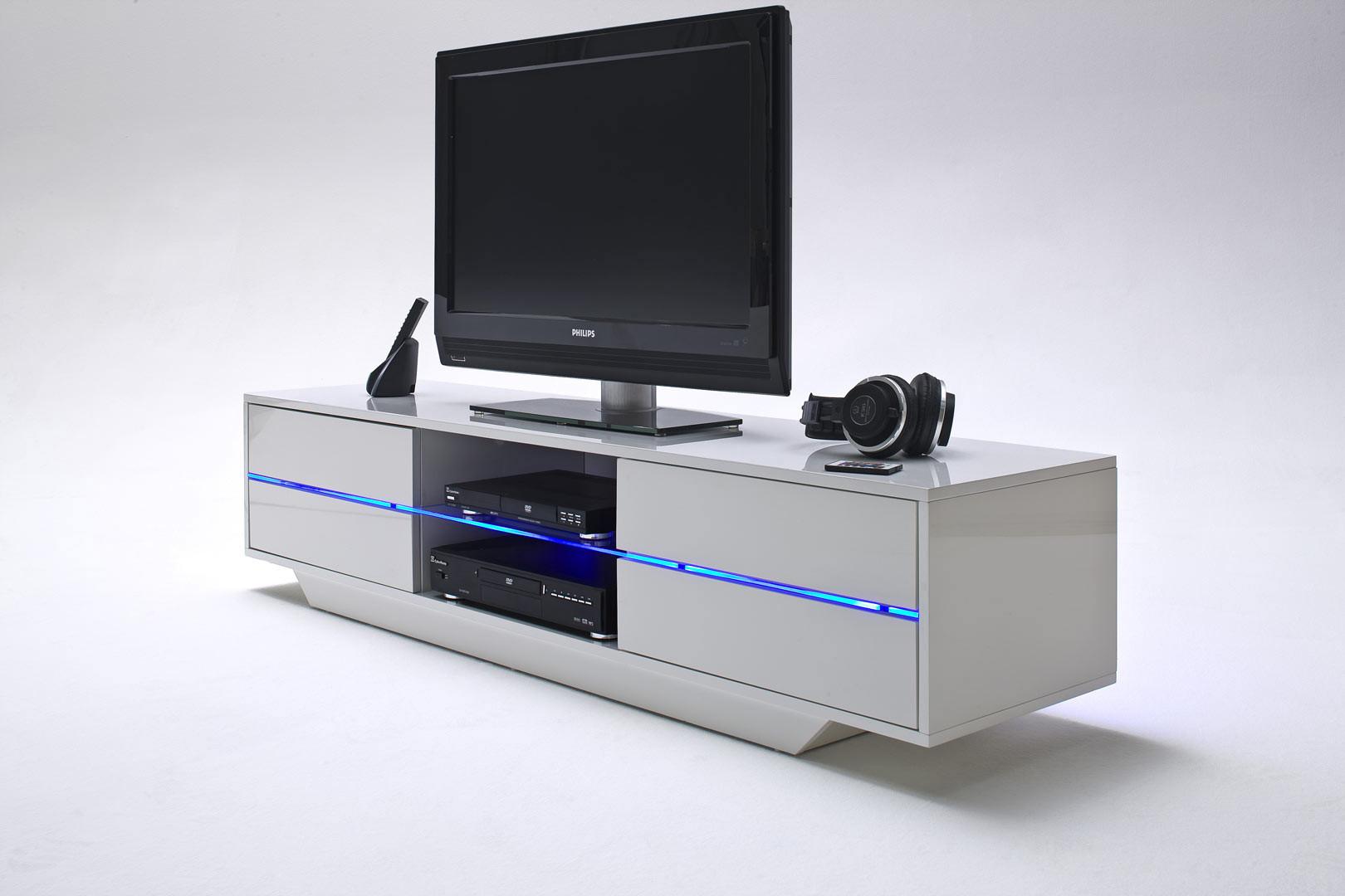Meuble TV moderne blanc laqué brillant Hilde | Matelpro