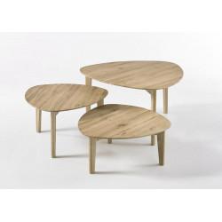 Tables basses gigognes style nature chêne massif Odyssé