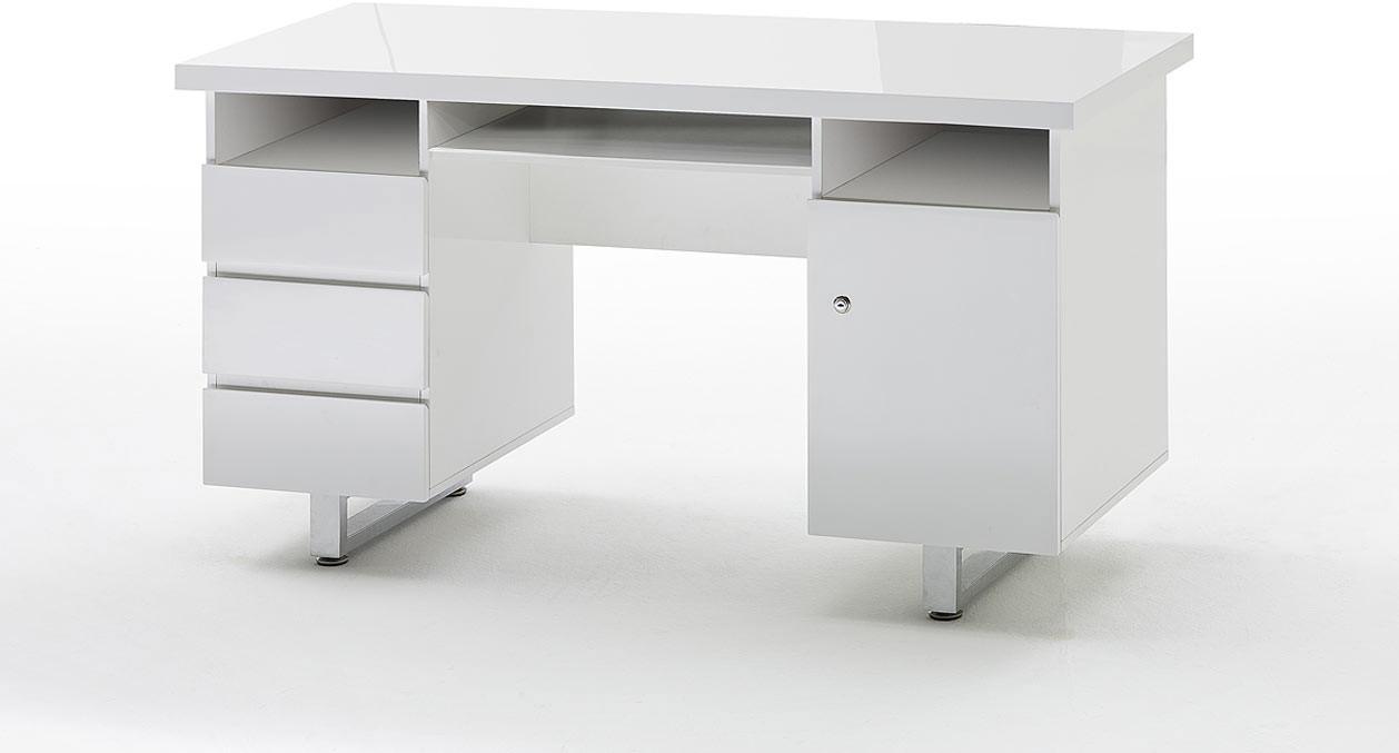 Bureau moderne blanc laqué Rodney