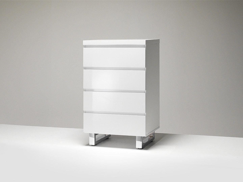 Meuble de rangement moderne blanc laqué Rodney