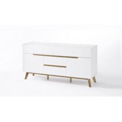 Buffet/bahut scandinave 145 cm blanc/chêne Amodeo