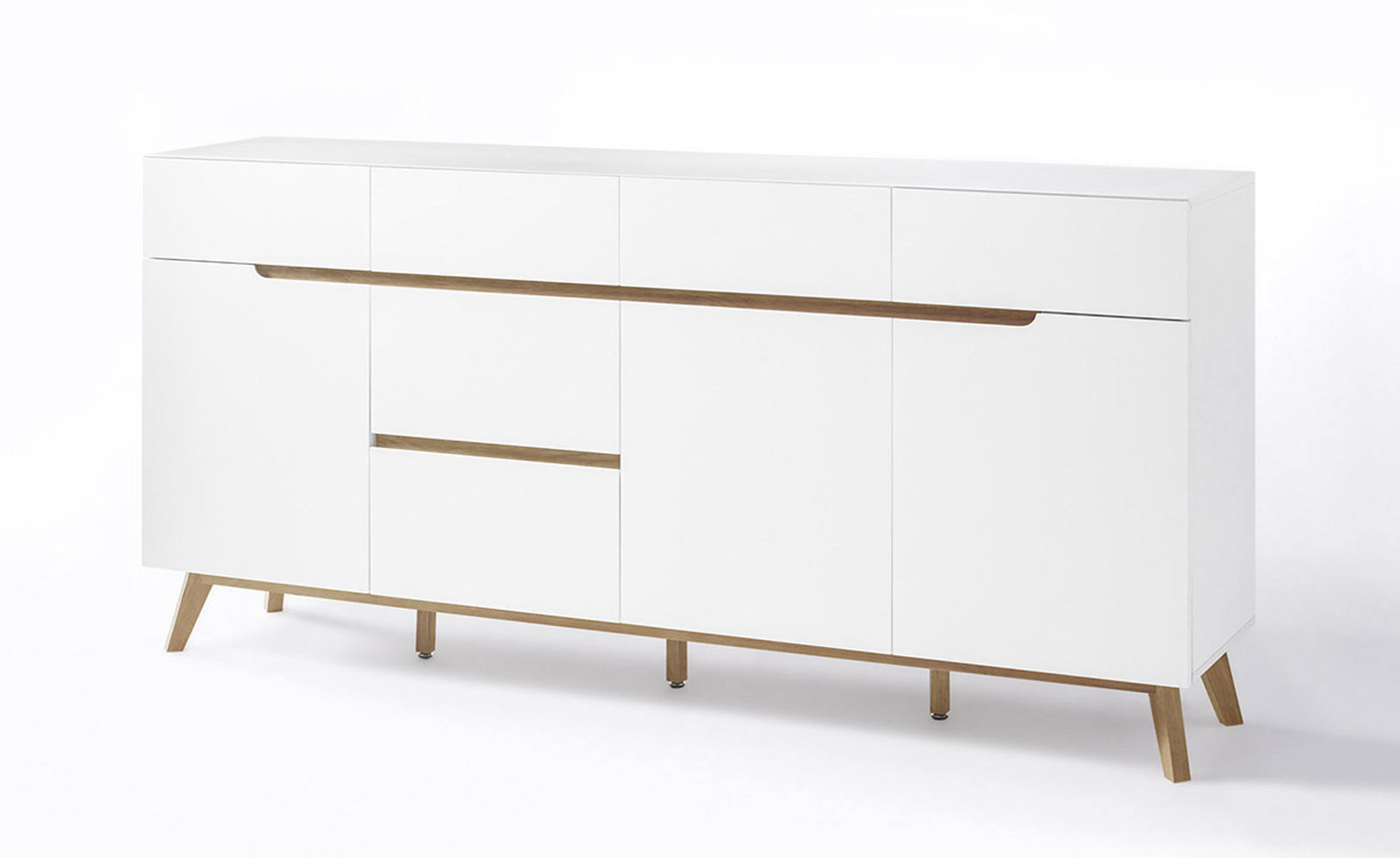 Buffet/bahut scandinave 193 cm blanc/chêne Amodeo