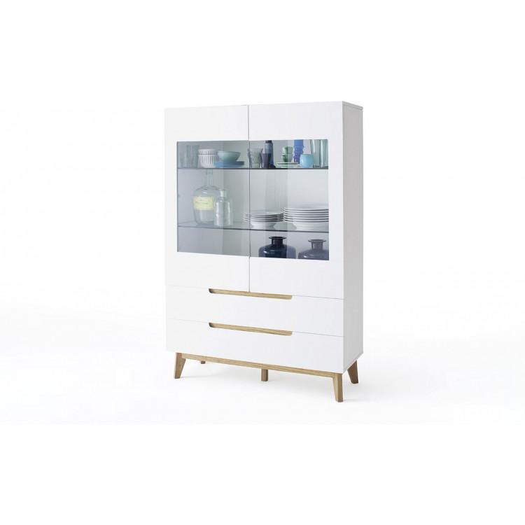Vaisselier/argentier scandinave 107 cm blanc/chêne Amodeo