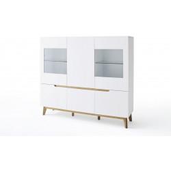 Vaisselier/argentier scandinave 155 cm blanc/chêne Amodeo