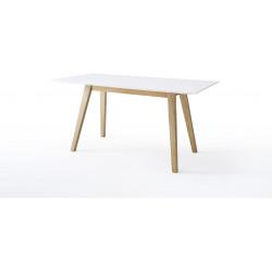 Table de salle à manger scandinave blanc/chêne Amodeo