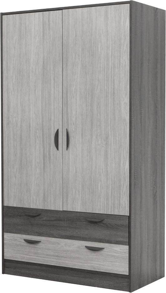 Armoire moderne 108 cm chêne gris/gris cendré Koaline