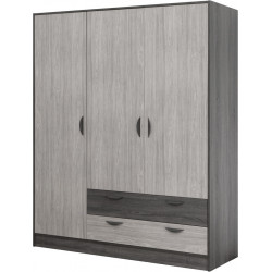 Armoire moderne 161 cm chêne gris/gris cendré Koaline