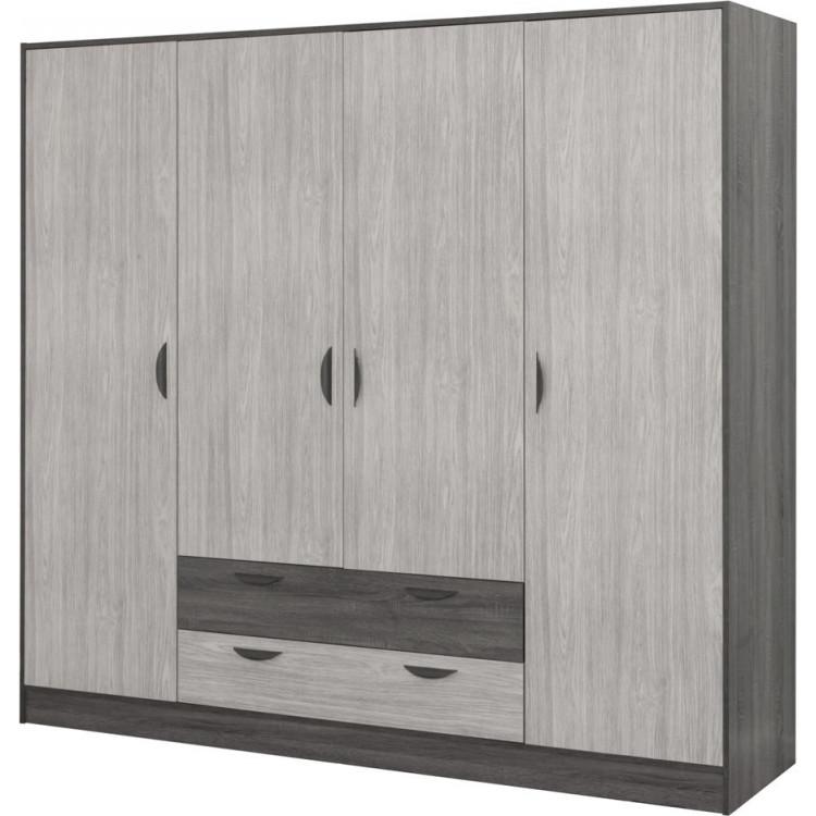 Armoire moderne 213 cm chêne gris/gris cendré Koaline
