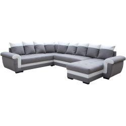 Canapé d'angle panoramique moderne en tissu gris Iseult