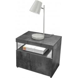 Chevet moderne gris béton (lot de 2) Dark