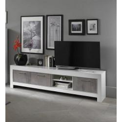 Meuble TV moderne 207 cm blanc/marbré Hilda