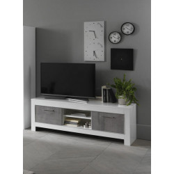 Meuble TV moderne 160 cm blanc/marbré Hilda