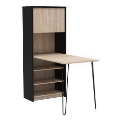 Table moderne avec rangement chêne/noir mat Viviane